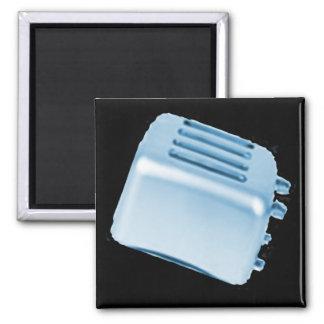 Diseño retro de la tostadora del vintage - azul imán para frigorifico