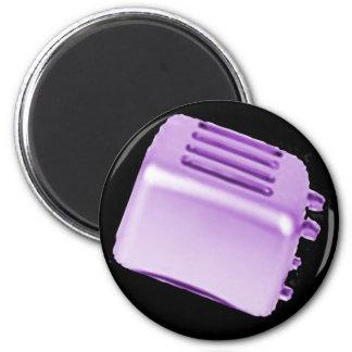 Diseño retro de la tostadora del vintage - púrpura iman para frigorífico