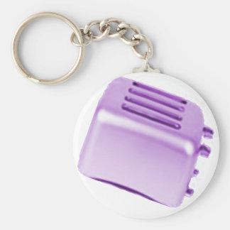Diseño retro de la tostadora del vintage - púrpura llavero redondo tipo pin