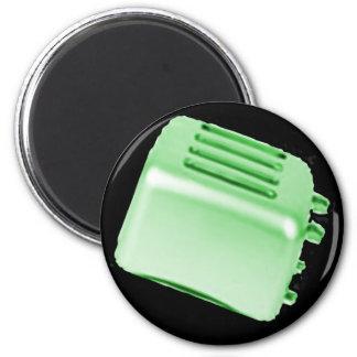 Diseño retro de la tostadora del vintage - verde iman de nevera