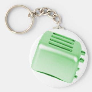 Diseño retro de la tostadora del vintage - verde llavero redondo tipo pin