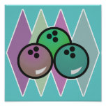 diseño retro de las bolas de bolos posters