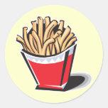 diseño retro de las patatas fritas pegatinas redondas