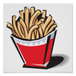diseño retro de las patatas fritas posters