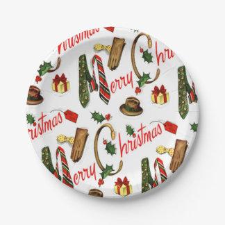 Diseño retro de las placas del navidad del día de plato de papel de 7 pulgadas