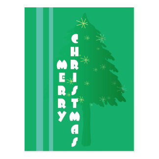 Diseño retro del árbol de navidad postales