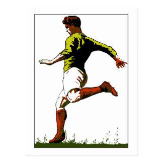 Diseño retro del arte del vector del fútbol del postal