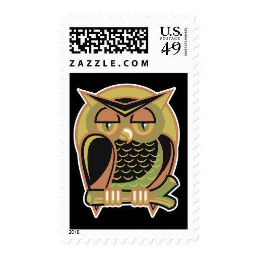 diseño retro del búho sello