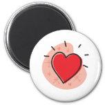 Diseño retro del día de San Valentín del corazón Imán