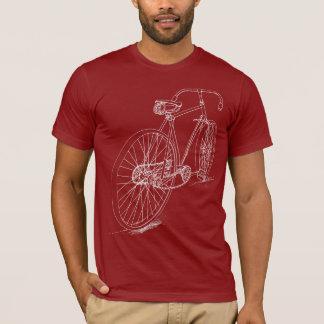 Diseño retro del dibujo de la bicicleta en blanco playera