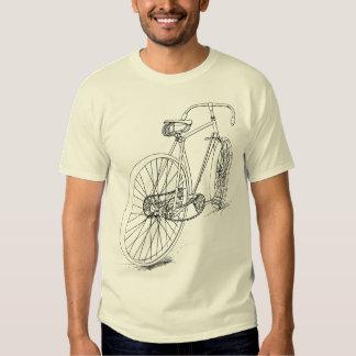 Diseño retro del dibujo de la bicicleta en negro playeras