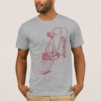 Diseño retro del dibujo de la bicicleta en rojo playera