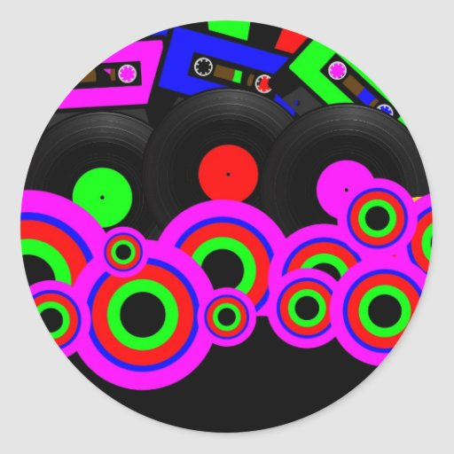 Diseño retro del fiesta pegatina redonda