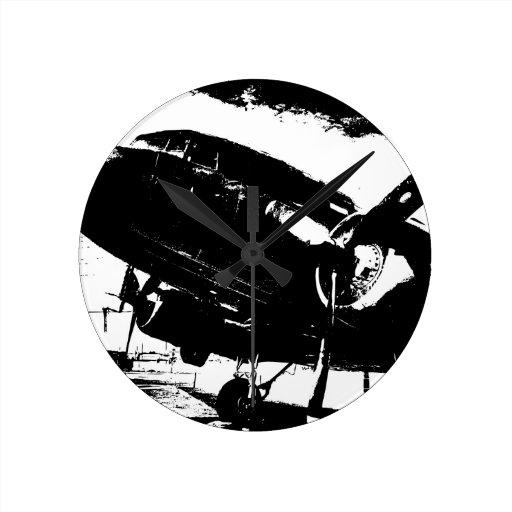 Diseño retro del jet de la aviación del avión del  reloj de pared