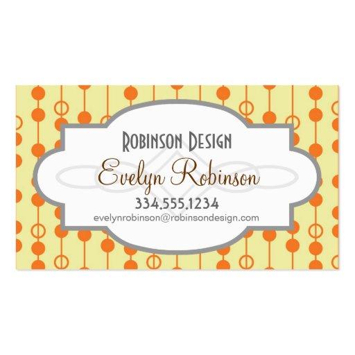 Diseño retro del naranja y del color de la piel de plantilla de tarjeta de visita