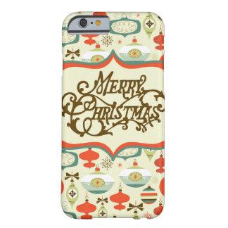 Diseño retro del ornamento de las Felices Navidad Funda De iPhone 6 Barely There