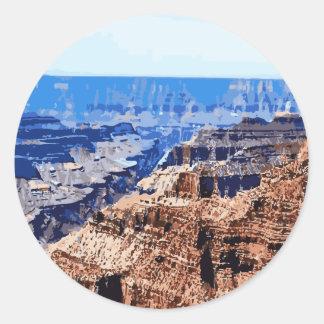 Diseño retro del parque nacional del Gran Cañón Pegatinas Redondas