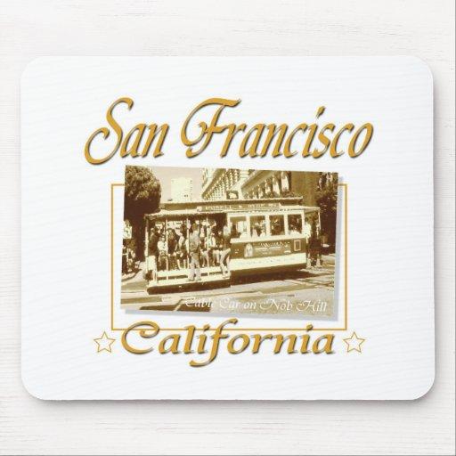 Diseño retro del vintage de San Francisco Tapete De Ratones