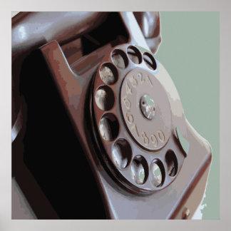 Diseño retro del vintage del teléfono de dial rota póster