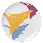 Diseño retro del vuelo de la aviación del aeroplan plato de cena