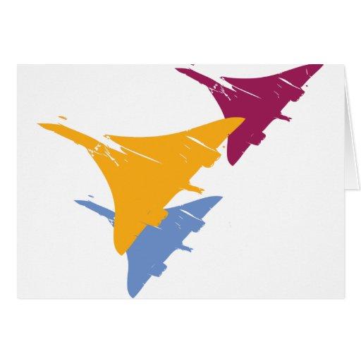 Diseño retro del vuelo de la aviación del aeroplan tarjeta de felicitación