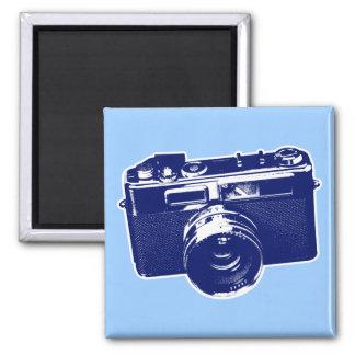Diseño retro gráfico de la cámara en azul imán de frigorifico