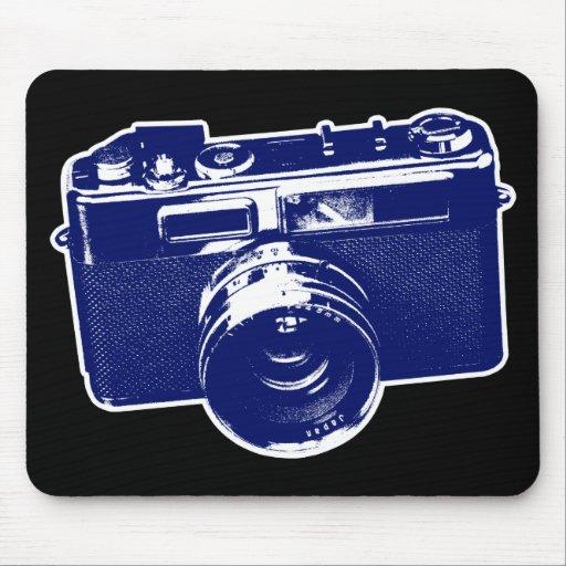 Diseño retro gráfico de la cámara en azul alfombrilla de ratones
