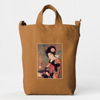 Diseño retro japonés del chica de geisha del bolsa de lona duck