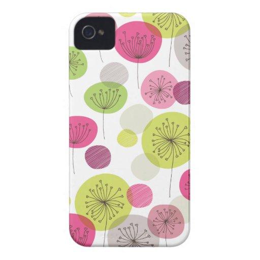 Diseño retro lindo del estampado de plores del árb Case-Mate iPhone 4 coberturas