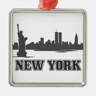 diseño retro ny del vintage de New York City Adorno Cuadrado Plateado