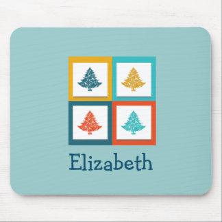 Diseño retro personalizado de 4 árboles de navidad tapete de raton