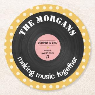 Diseño retro personalizado del álbum de la música posavasos de cartón redondo