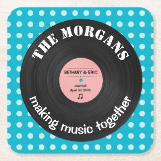 Diseño retro personalizado del álbum de la música posavasos personalizable cuadrado