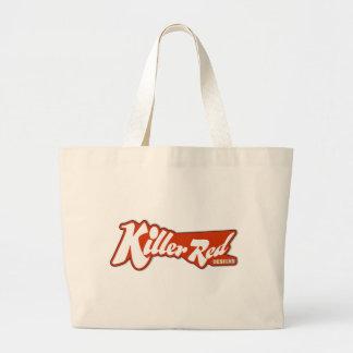Diseño retro rojo del logotipo del asesino bolsa lienzo