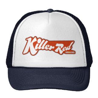 Diseño retro rojo del logotipo del asesino gorro