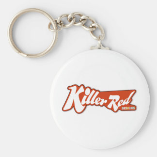 Diseño retro rojo del logotipo del asesino llaveros personalizados