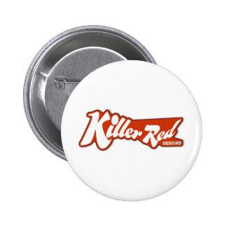 Diseño retro rojo del logotipo del asesino pins