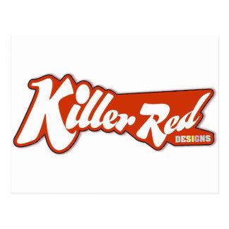 Diseño retro rojo del logotipo del asesino tarjetas postales