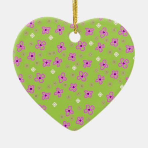 Diseño retro rosado verde Broadhurst inspirado Adorno Navideño De Cerámica En Forma De Corazón