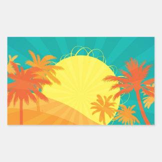 Diseño retro tropical de la resaca de la playa de rectangular pegatinas
