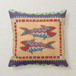 Diseño reversible del pájaro y de los pescados del almohada