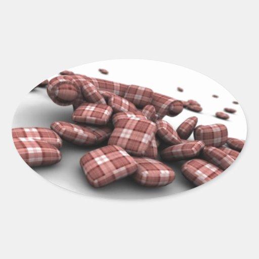 Diseño rojo abstracto del modelo pegatina ovalada