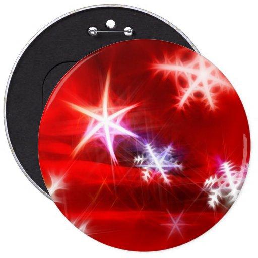 Diseño rojo abstracto del navidad del copo de niev pin