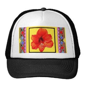 Diseño Rojo-Amarillo del Amaryllis occidental Gorras De Camionero