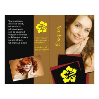 """Diseño rojo amarillo elegante del pelo de la folleto 8.5"""" x 11"""""""