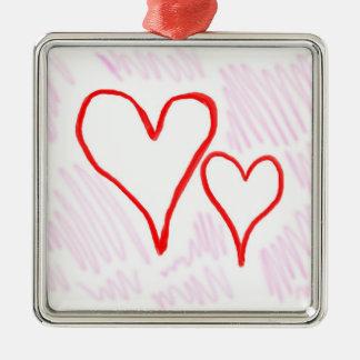 Diseño rojo, amor o tarjeta del día de San Adorno Navideño Cuadrado De Metal