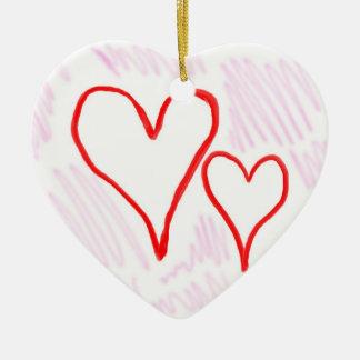 Diseño rojo, amor o tarjeta del día de San Adorno Navideño De Cerámica En Forma De Corazón