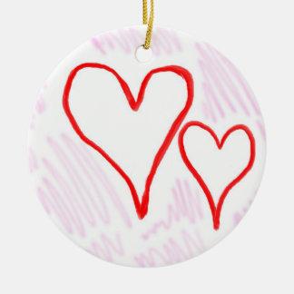 Diseño rojo, amor o tarjeta del día de San Adorno Navideño Redondo De Cerámica