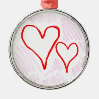 Diseño rojo, amor o tarjeta del día de San Adorno Navideño Redondo De Metal