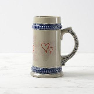 Diseño rojo, amor o tarjeta del día de San Jarra De Cerveza